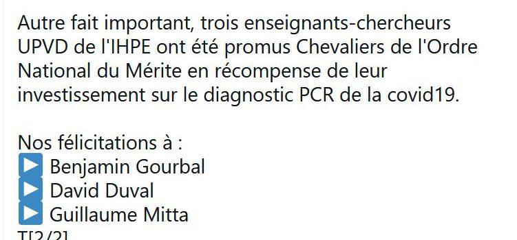 D. Duval, B. Gourbal et G. Mitta promus Chevaliers de l'Ordre National du Mérite (06/01/21)